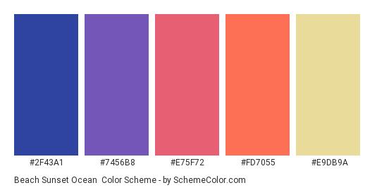 Beach Sunset Ocean - Color scheme palette thumbnail - #2f43a1 #7456b8 #e75f72 #fd7055 #e9db9a