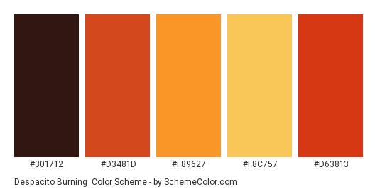 Despacito Burning - Color scheme palette thumbnail - #301712 #D3481D #F89627 #F8C757 #D63813