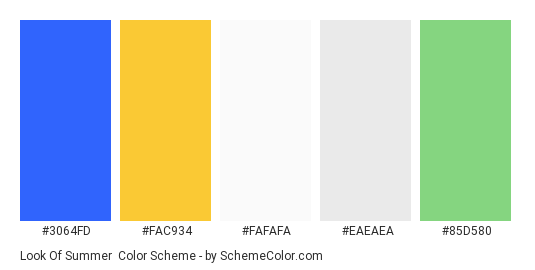 Look of Summer - Color scheme palette thumbnail - #3064fd #fac934 #fafafa #eaeaea #85d580