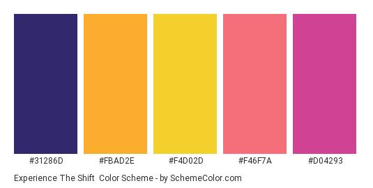 Experience the Shift - Color scheme palette thumbnail - #31286d #fbad2e #f4d02d #f46f7a #d04293