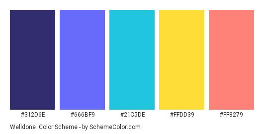 Welldone - Color scheme palette thumbnail - #312D6E #666BF9 #21C5DE #FFDD39 #FF8279