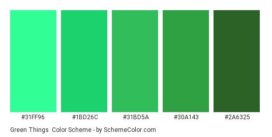 Green Things - Color scheme palette thumbnail - #31FF96 #1BD26C #31BD5A #30A143 #2A6325