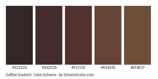 Coffee Gradient - Color scheme palette thumbnail - #322626 #432d2b #51312e #654335 #6f4e37
