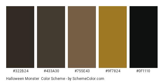 Halloween Monster - Color scheme palette thumbnail - #322b24 #433a30 #755e43 #9f7824 #0f1110