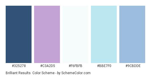 Brilliant Results - Color scheme palette thumbnail - #325278 #C3A2D5 #F6FBFB #BBE7F0 #9CBDDE
