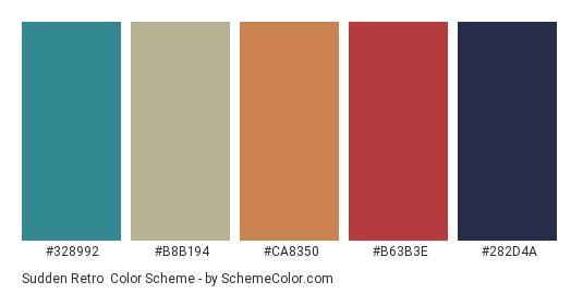 Sudden Retro - Color scheme palette thumbnail - #328992 #b8b194 #ca8350 #b63b3e #282d4a