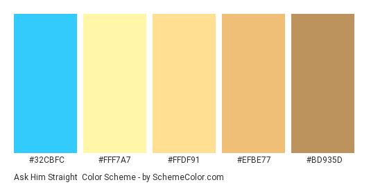 Ask Him Straight - Color scheme palette thumbnail - #32cbfc #fff7a7 #ffdf91 #efbe77 #bd935d