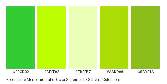 Green Lime Monochromatic - Color scheme palette thumbnail - #32cd32 #beff02 #ebffb7 #aadd06 #8bbe1a