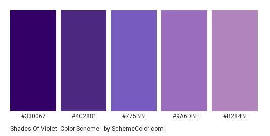 Shades of Violet - Color scheme palette thumbnail - #330067 #4C2881 #775BBE #9A6DBE #B284BE