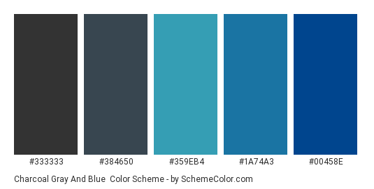 Charcoal Gray and Blue - Color scheme palette thumbnail - #333333 #384650 #359eb4 #1a74a3 #00458e