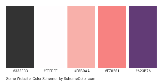 Some Website - Color scheme palette thumbnail - #333333 #fffdfe #f8b0aa #f78281 #623b76