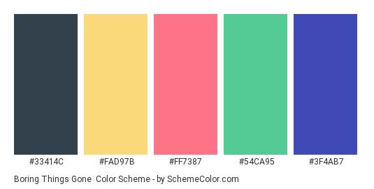 Boring Things Gone - Color scheme palette thumbnail - #33414C #FAD97B #FF7387 #54CA95 #3F4AB7