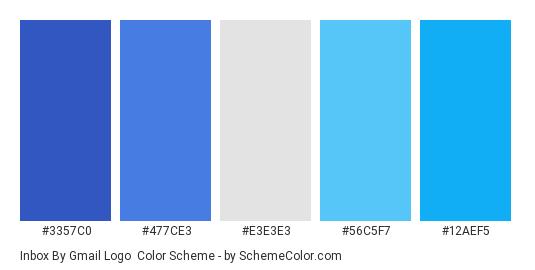 Inbox by Gmail Logo - Color scheme palette thumbnail - #3357C0 #477CE3 #E3E3E3 #56C5F7 #12AEF5