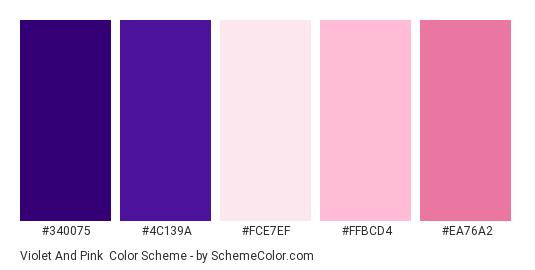 Violet and Pink - Color scheme palette thumbnail - #340075 #4c139a #fce7ef #ffbcd4 #ea76a2