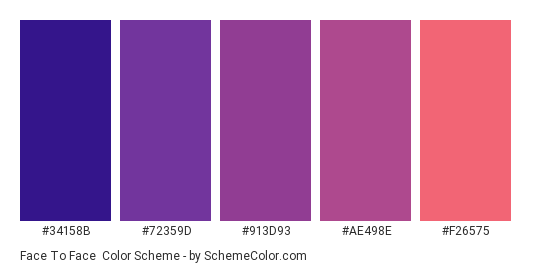 Face to Face - Color scheme palette thumbnail - #34158b #72359d #913d93 #ae498e #f26575