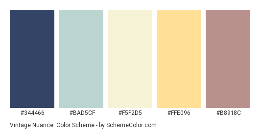Vintage Nuance - Color scheme palette thumbnail - #344466 #bad5cf #f5f2d5 #ffe096 #b8918c