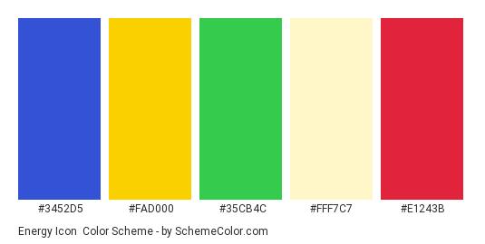 Energy Icon - Color scheme palette thumbnail - #3452d5 #fad000 #35cb4c #fff7c7 #e1243b