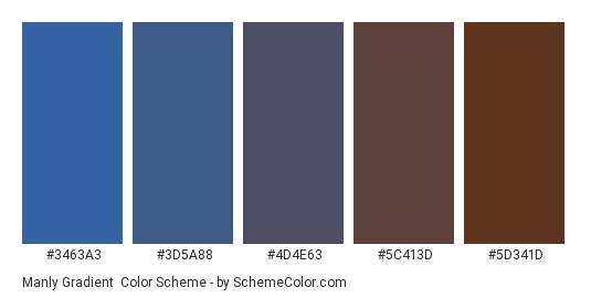 Manly Gradient - Color scheme palette thumbnail - #3463a3 #3d5a88 #4d4e63 #5c413d #5d341d