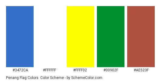 Penang Flag Colors - Color scheme palette thumbnail - #3472ca #ffffff #ffff02 #00902f #ae523f