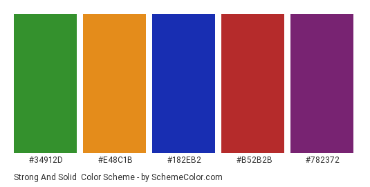 Strong and Solid - Color scheme palette thumbnail - #34912d #e48c1b #182eb2 #b52b2b #782372