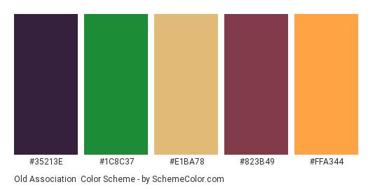 Old Association - Color scheme palette thumbnail - #35213e #1c8c37 #e1ba78 #823b49 #ffa344