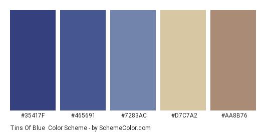 Tins of Blue - Color scheme palette thumbnail - #35417f #465691 #7283ac #d7c7a2 #aa8b76