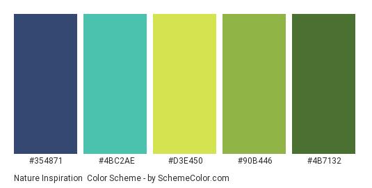 Nature Inspiration - Color scheme palette thumbnail - #354871 #4BC2AE #D3E450 #90B446 #4B7132