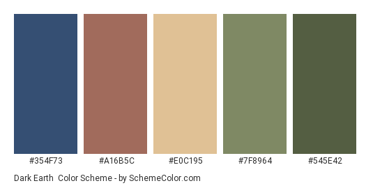 Dark Earth - Color scheme palette thumbnail - #354F73 #A16B5C #E0C195 #7F8964 #545E42