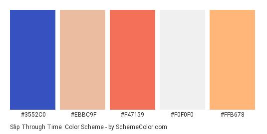 Slip Through Time - Color scheme palette thumbnail - #3552c0 #ebbc9f #f47159 #f0f0f0 #ffb678
