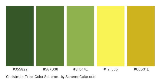 Christmas Tree - Color scheme palette thumbnail - #355829 #567d30 #8fb14e #f9f355 #ceb31e