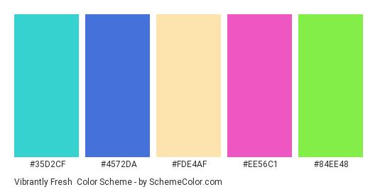 Vibrantly Fresh - Color scheme palette thumbnail - #35d2cf #4572da #fde4af #ee56c1 #84ee48