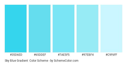 Sky Blue Gradient - Color scheme palette thumbnail - #35d6ed #65ddef #7ae5f5 #97ebf4 #c9f6ff