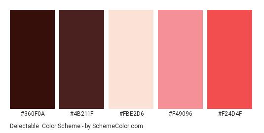 Delectable - Color scheme palette thumbnail - #360f0a #4b211f #fbe2d6 #f49096 #f24d4f