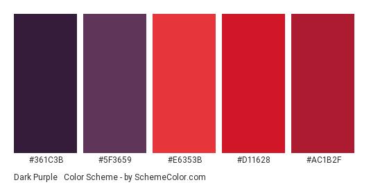 Dark Purple & Red - Color scheme palette thumbnail - #361c3b #5f3659 #e6353b #d11628 #ac1b2f