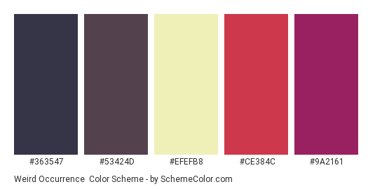 Weird Occurrence - Color scheme palette thumbnail - #363547 #53424d #efefb8 #ce384c #9a2161
