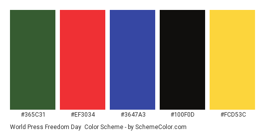 World Press Freedom Day - Color scheme palette thumbnail - #365C31 #EF3034 #3647A3 #100F0D #FCD53C