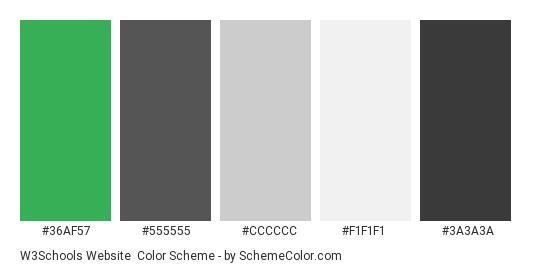 W3Schools Website - Color scheme palette thumbnail - #36af57 #555555 #cccccc #f1f1f1 #3a3a3a