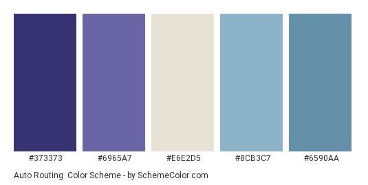 Auto Routing - Color scheme palette thumbnail - #373373 #6965a7 #e6e2d5 #8cb3c7 #6590aa