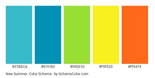 New Summer - Color scheme palette thumbnail - #37BBCA #0191B5 #99DE33 #F9F020 #FF6919