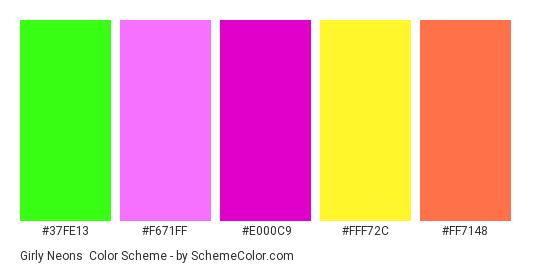 Girly Neons - Color scheme palette thumbnail - #37fe13 #f671ff #e000c9 #fff72c #ff7148