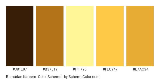 Ramadan Kareem - Color scheme palette thumbnail - #381E07 #B37319 #FFF795 #FEC947 #E7AC34