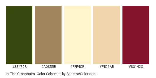 In the Crosshairs - Color scheme palette thumbnail - #38470B #A0855B #FFF4CB #F1D6AB #83142C
