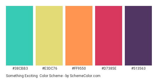 Something Exciting - Color scheme palette thumbnail - #38CBB3 #E3DC76 #FF9550 #D7385E #513563