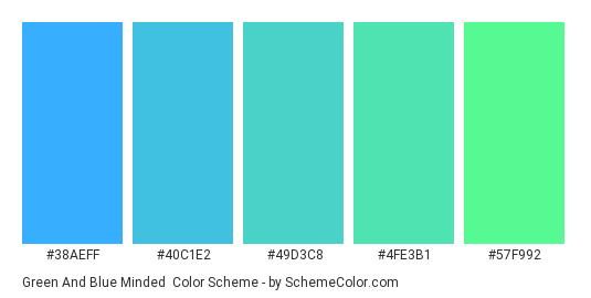 Green and Blue Minded - Color scheme palette thumbnail - #38aeff #40c1e2 #49d3c8 #4fe3b1 #57f992