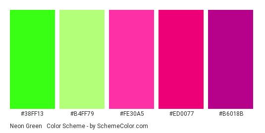Neon Green & Rose - Color scheme palette thumbnail - #38ff13 #b4ff79 #fe30a5 #ed0077 #b6018b
