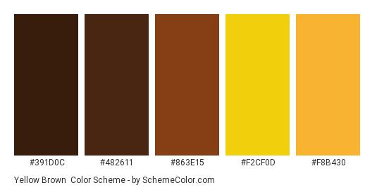 Yellow Brown Color Scheme Palette Thumbnail 391d0c 482611 863e15 F2cf0d