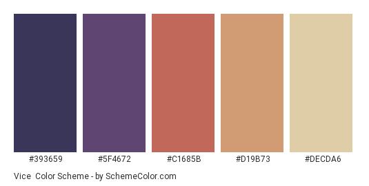 Vice - Color scheme palette thumbnail - #393659 #5F4672 #C1685B #D19B73 #DECDA6