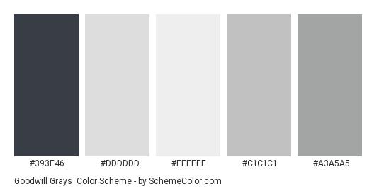 Goodwill Grays - Color scheme palette thumbnail - #393E46 #DDDDDD #EEEEEE #c1c1c1 #a3a5a5
