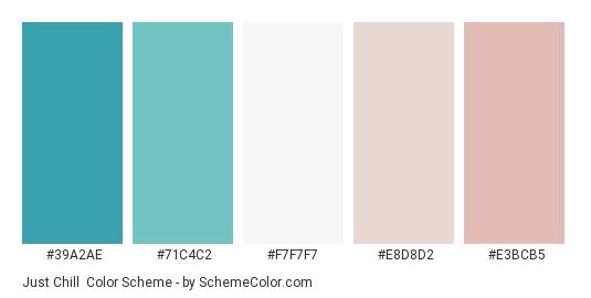 Just Chill - Color scheme palette thumbnail - #39a2ae #71c4c2 #f7f7f7 #e8d8d2 #e3bcb5