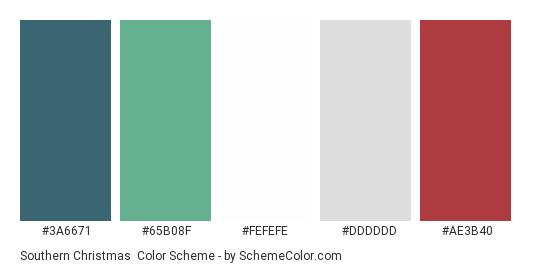 Southern Christmas - Color scheme palette thumbnail - #3A6671 #65B08F #FEFEFE #DDDDDD #AE3B40